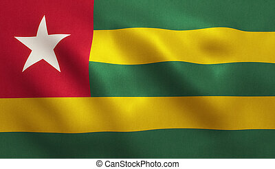 Togo Flag - Togo flag with fabric texture. 3D illustration.