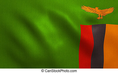 Zambian Flag - Zambia flag with fabric texture. 3D...