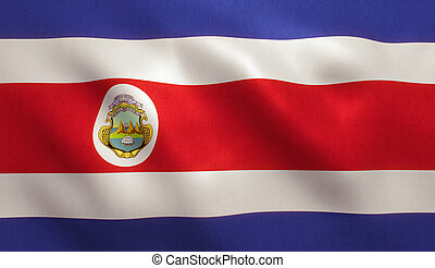 Costa Rica Flag - Costa Rica flag with fabric texture. 3D...