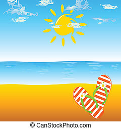 flip flop orange for the beach illustration