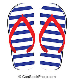 flip flop blue and white color vector illustration