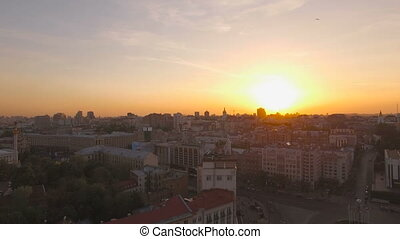 Aerial panoramic view of European city at sunset UHD stock footage