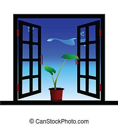 flowers in the window illustration