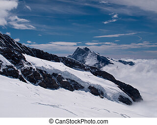 Peak of Jungfraujoch in Swiss Alps