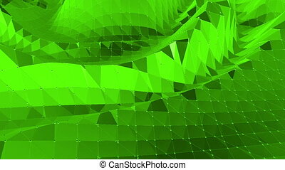 Green low poly background pulsating. Abstract low poly surface as fantasy background in stylish low poly design. Polygonal mosaic background with vertex, spikes. Cool modern 3D design