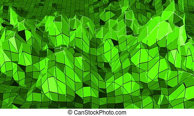 Green low poly background pulsating. Abstract low poly surface as atom structure in stylish low poly design. Polygonal mosaic background with vertex, spikes. Cool modern 3D design