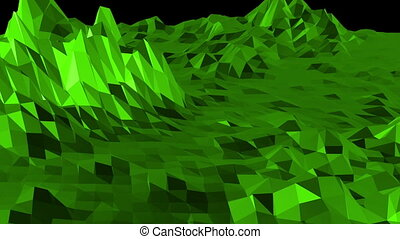 Green low poly background pulsating. Abstract low poly surface as high tech background in stylish low poly design. Polygonal mosaic background with vertex, spikes. Cool modern 3D design.