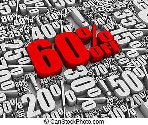 Sale 60% Off! - Batch of sale related 3D words. Part of a...