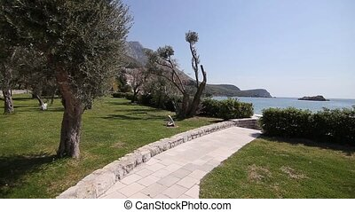 The territory of the park Sveti Stefan in front of the island. M