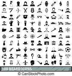 100 beard icons set, simple style - 100 beard icons set in...
