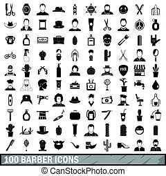 100 barber icons set, simple style - 100 barber icons set in...