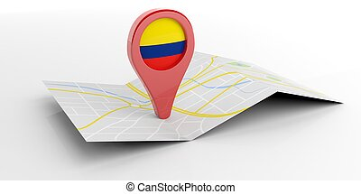 Colombia map pointer on white background. 3d illustration -...