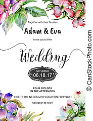 Wedding invitation DiY template dogwood handmade watercolor...