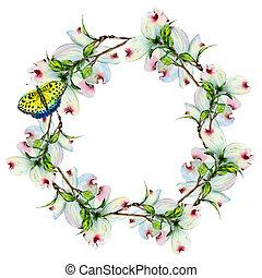 Wildflower dogwood flower wreath in a watercolor style...