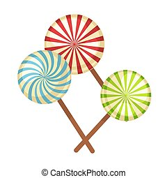 Lollipop hard candy vector isolated flat icons - Lollipop or...