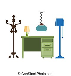 Furniture pieces living room lamp, hanger, chest of drawers...