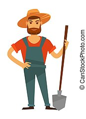Farmer man with spade in hat, vector farm agriculture -...