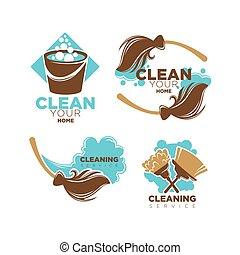 Home cleaning service vector icons set of brooms and duster...