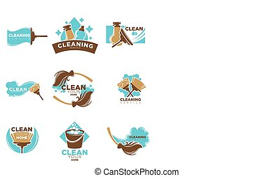 Home cleaning service of washing or mopping vector icons...