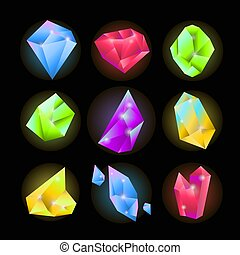 Crystals or sparkling gemstones vecor icons set