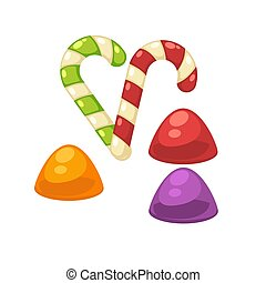 Candy canes and marmalade confectionery vector isolated flat...
