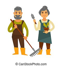 Old farmer man and woman vector farm agriculture flat...