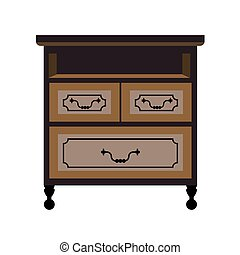 Chest of drawers retro furniture piece vector flat icon -...