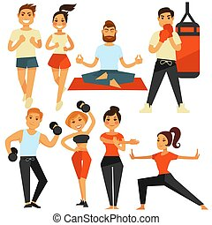 People fitness and sport exercise or training vector icons -...