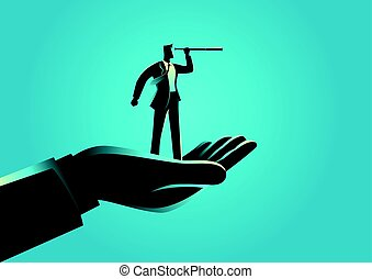 Hand holding a businessman using telescope - Business...