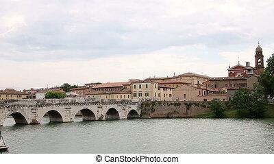 Tiberius bridge cityscape Rimini Italy
