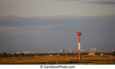 Approach - Airbus A-320 jet plane landing, Tolmachevo...