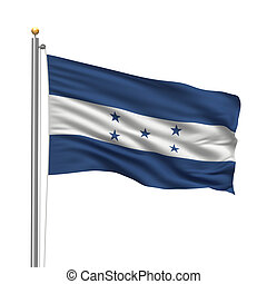 Flag of Honduras with flag pole waving in the wind over...