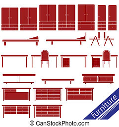 furniture in red for home set