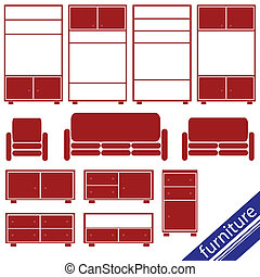 furniture in red for home set two