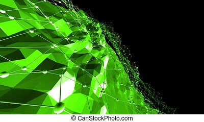 Green low poly background vibrating. Abstract low poly surface as high tech background in stylish low poly design. Polygonal mosaic background with vertex, spikes. Nice modern 3D design Free space