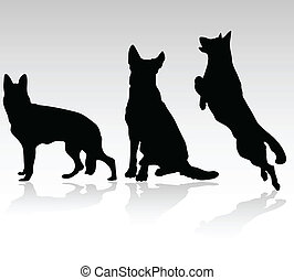 alemão, pastor, cão, vetorial, silhouet