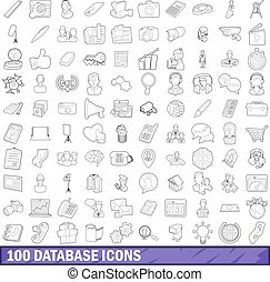 100 database icons set, outline style - 100 database icons...