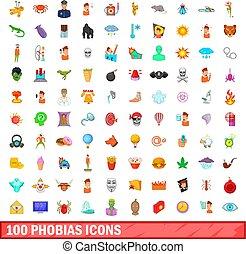 100 phobias icons set, cartoon style - 100 phobias icons set...