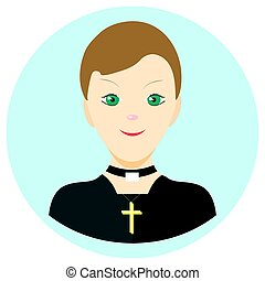 Icon man priest in a flat style. Vector image on a round...