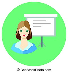 Icon girl businesswoman near the board in a flat style. Vector image on a round colored background. Element of design, interface. Image in the cartoon style