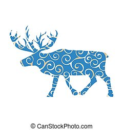 Deer northern color silhouette animal. Vector Illustrator.