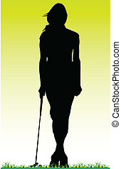 girl golfer posing on the grass vector silhouette