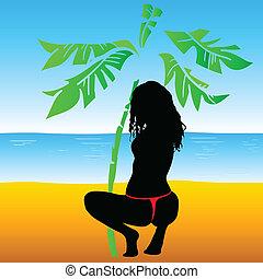 girl in underwear at the beach