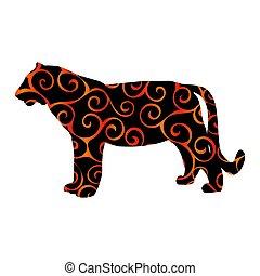 Tiger wildcat bird color silhouette animal