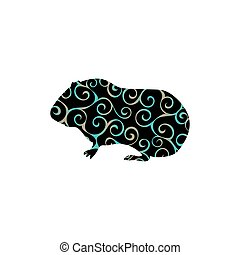 Guinea pig pet rodent color silhouette animal. Vector...