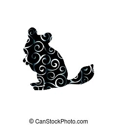 Chinchilla pet rodent color silhouette animal. Vector...