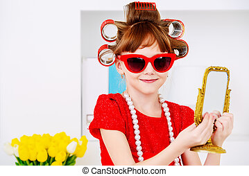 prepare for birthday party - Portrait of a funny little girl...