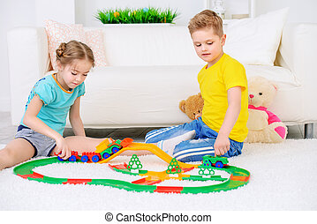 playing together at home
