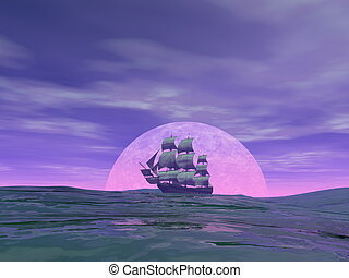Old merchant ship - 3D render - Old merchant ship in front...