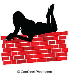 girl lying on the red wall illustra